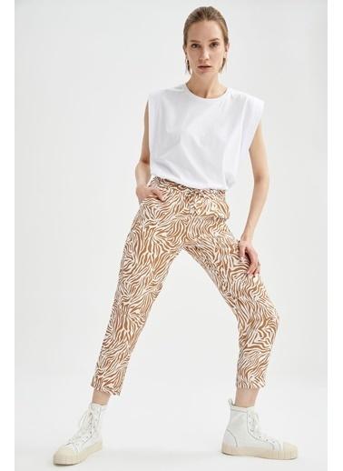 DeFacto Regular Fit Esnek Belli Zebra Desen Pantolon Kahve